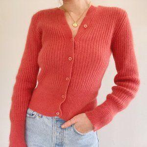 Tangents Fuzzy Angora Ribbed Cardigan Sweater